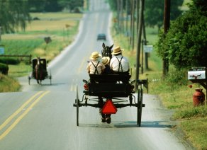 Pennsylvania, Two Amish Buggies Passing Each Other